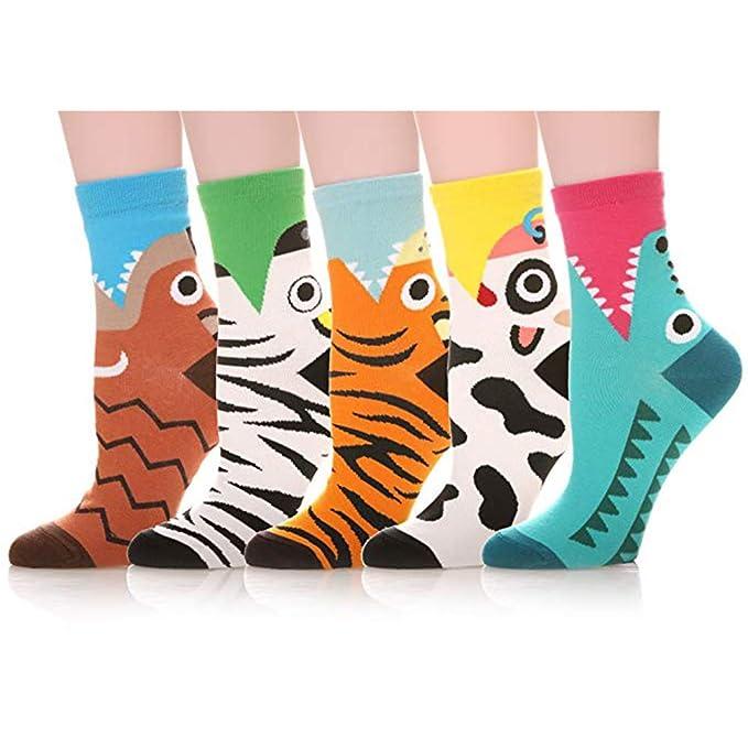 Calcetines de Algodón de Mujers - Bakicey calcetines térmicos Adulto Unisex Calcetines (Tigre Casual)