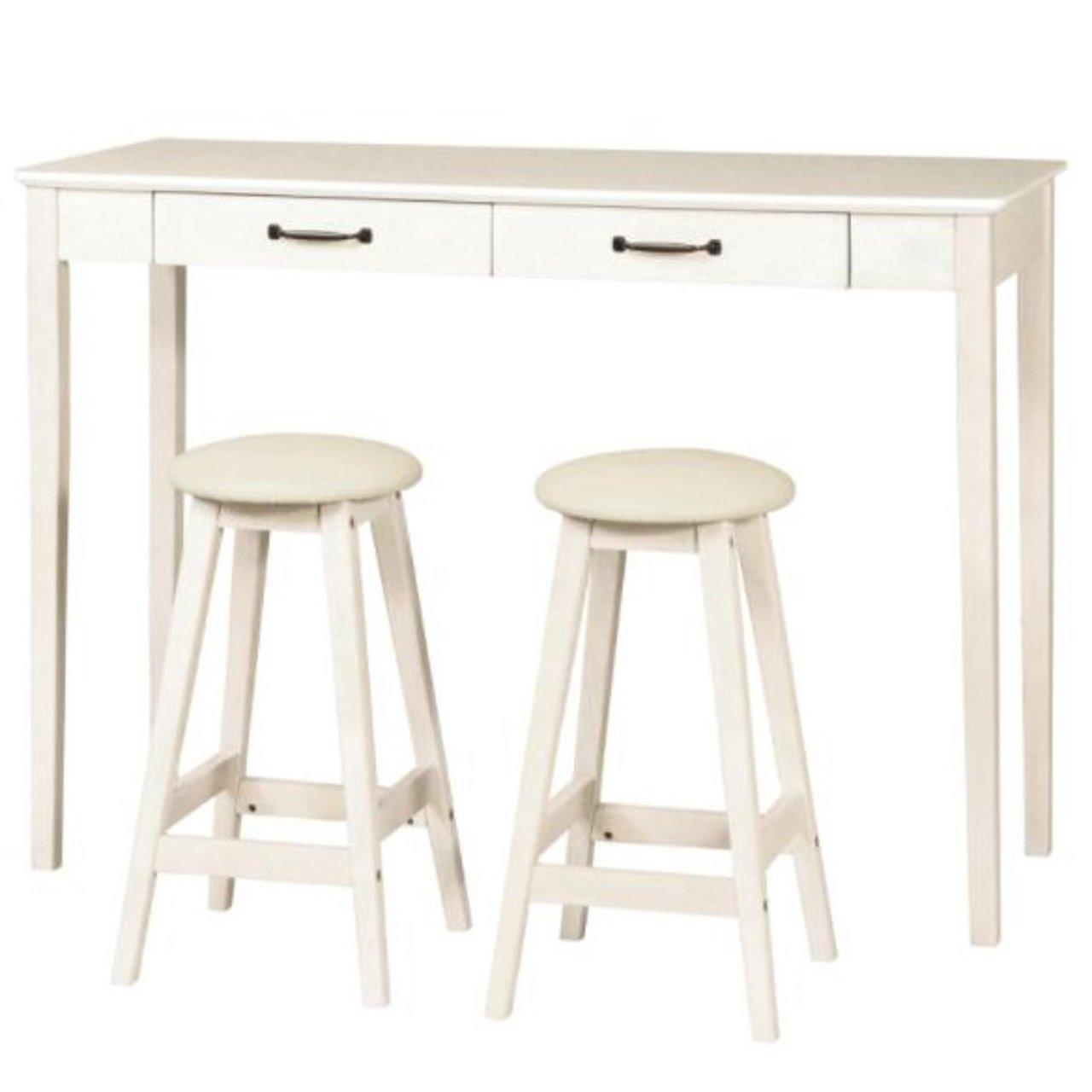 SINAPP ハイテーブル アンティーク調シリーズ ハイチェア 3点セット 木製ハイテーブル SIK0589 ホワイト B07BFWZRF7