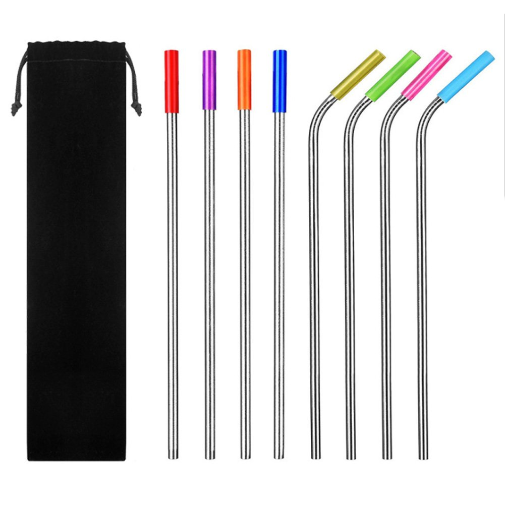 MOWANG Metal Straws with Silicone Tip (Set of 8) (4 Straight 10.4inch + 4 Bent 9.8inch + 2 Brushes 9.3inch) Drinking Reusable Stainless Steel FDA For 20 30oz YETI Ozark Tumblers Rumblers Smoothie Cold