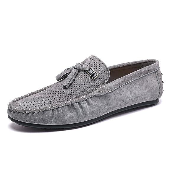 SHELAIDON Herren Mokassin Schuhe Flache Slippers Wildleder Men Loafers Shoes (EUR39,gray)