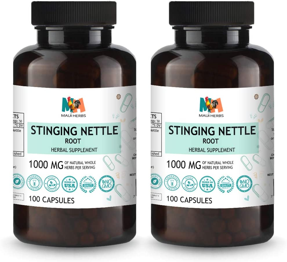 Stinging Nettle Root 2×100 Capsules, 1000mg Per Serving, Organic Stinging Nettle Root Urtica Dioica