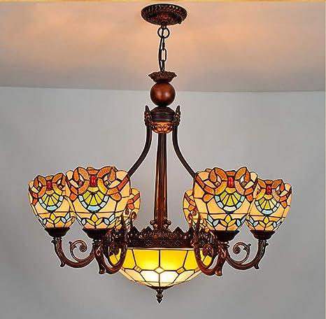 ZIXUAA Lámpara de Techo Invertida Vintage de Cristal Tiffany ...