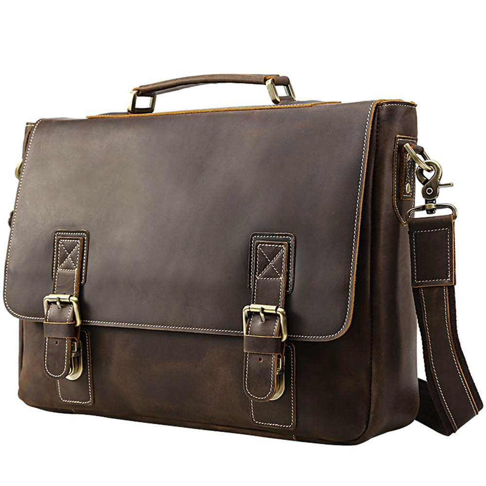 Techecho PU Leather Laptop Bag with Handle and Zip Pocket Mens Briefcase Business Tote Shoulder Bag Large Capacity Leather Computer Bag