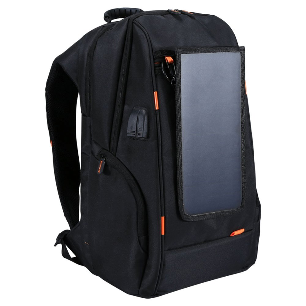 Andoer Outdoor Charging Backpack with USB Port Waterproof Breathable Travel Bag Wear-resisting Anti-theft Backpack with Solar Panel