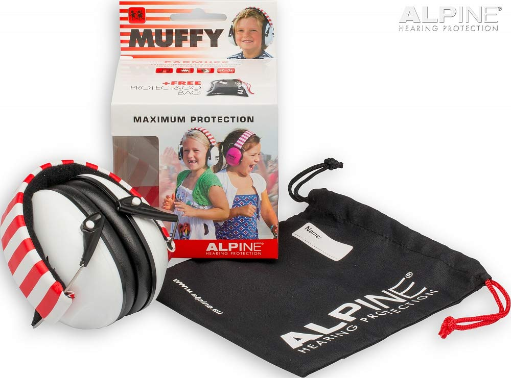 Alpine Muffy White/Red 1 Piece - Ear Muffs - Hearing Protection For your Child - Protects your child's Vulnerable Ear Canal against Loud Noises - Small - Easy to clean - Netherlands