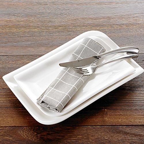Ivory Rectangular Platter (Vancasso 2-Piece Ivory White Porcelain Cream White China Ceramic Dinner Serving Platters with 11