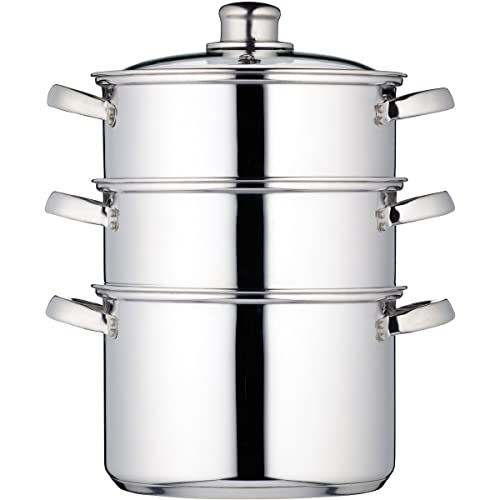 """KitchenCraft Induction-Safe Stainless Steel 3-Tier Food Steamer Pan/Stock Pot, 20 cm (8"""")"""
