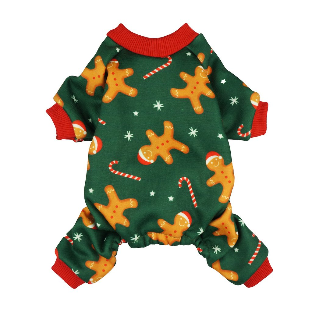 Fitwarm Christmas Gingerbread Man Pet Clothes for Dog Pajamas Jumpsuit Coats Green Medium