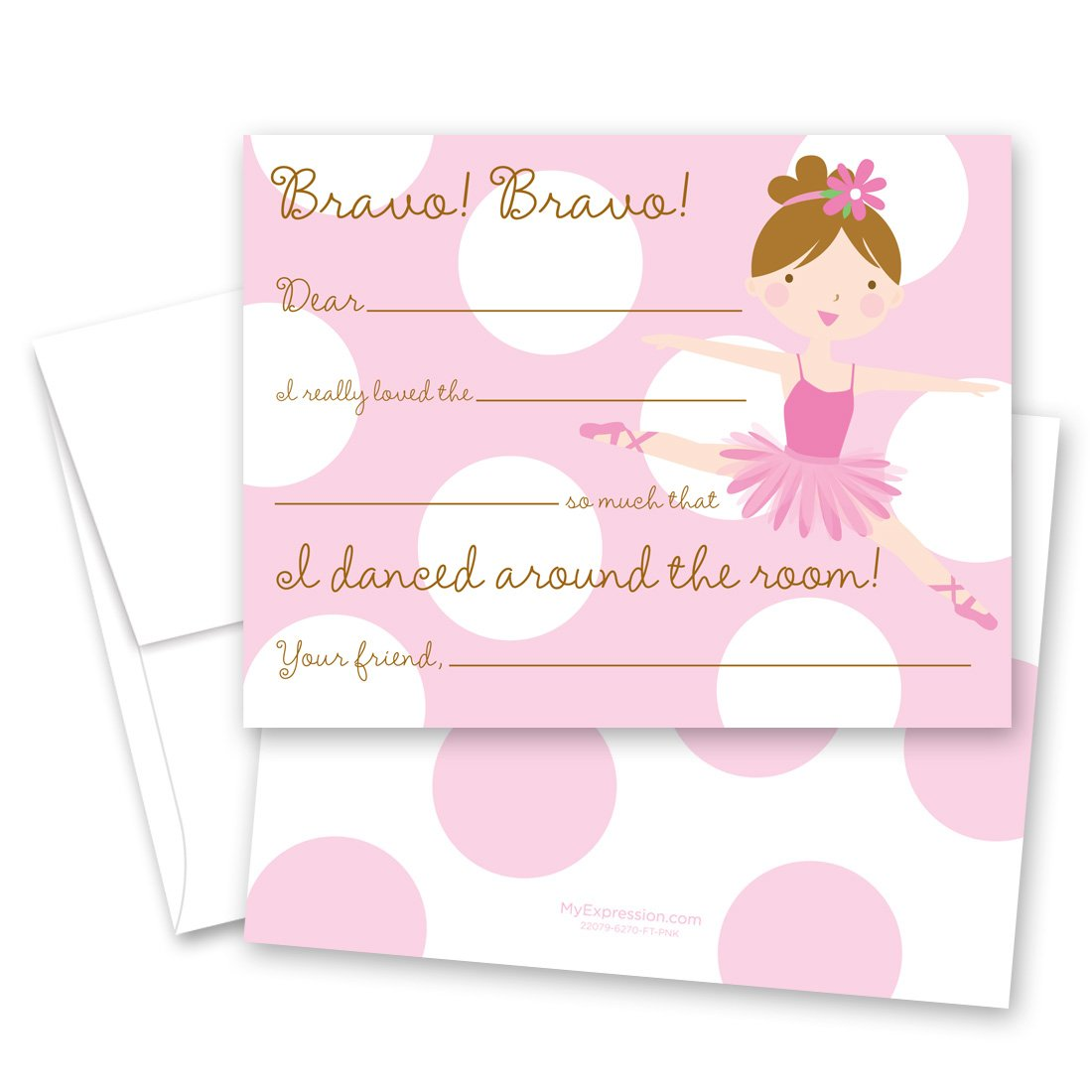 MyExpression.com 20 Let's Dance Pretty Girl Kids Fill-in Birthday Thank You Cards