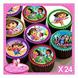 24 x DORA THE EXPLORER EDIBLE CUPCAKE TOPPERS, PREMIUM RICE PAPER C7053