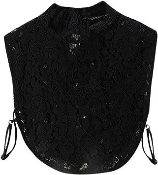 Fake Collar, hunpta Mujer Nueva Blusa falso cuello ropa camisa desmontable anillas encaje blanco negro Descripción, negro: Amazon.es: Deportes y aire libre