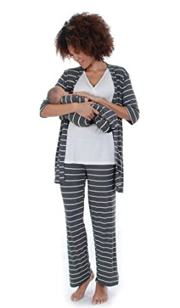 edbf6448b13f1 Everly Grey Roxanne 5 PC Mom & Baby Maternity Nursing Pajama Set (X-Small