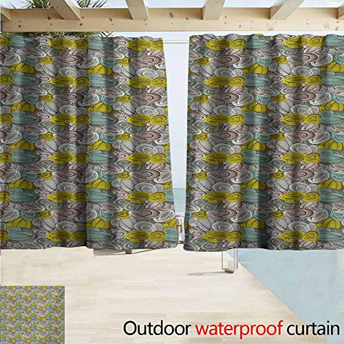 Coastal Chocolate Mint - AndyTours Rod Pocket Top Blackout Curtains/Drapes,Abstract Floral Pattern Line Art Foliage Design Hand Drawn Doodle,Outdoor Privacy Porch Curtains,W63x72L Inches,Yellow Green Mint Green Chocolate