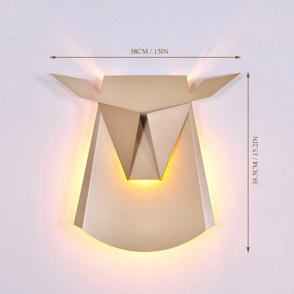 Nordic Postmodern Ngau Tau Deer Head Decoration Wall Lamp Study Bedroom LED Aluminum Alloy Wall Light Bedside Restaurant Aisle Cafe Lighting (including light source) ( Color : Gold ) by CHUANGCHUANG (Image #5)