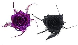 Lurrose 2pcs Fleur en plumes Broche broches corsage Broche Breastpin Fleur Pinces à cheveux Epingle Headwear pour femmes filles (Noir Violet foncé)