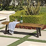 Cana Outdoor Teak Finished Acacia Wood Bench with Rustic Metal Accents For Sale