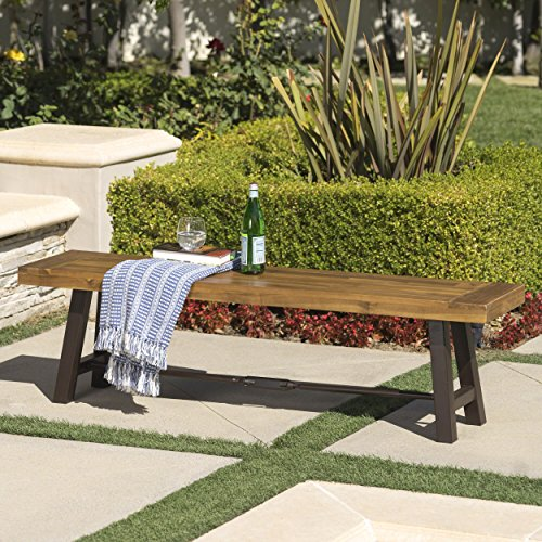 Cana Outdoor Teak Finished Acacia Wood Bench with Rustic Metal ()