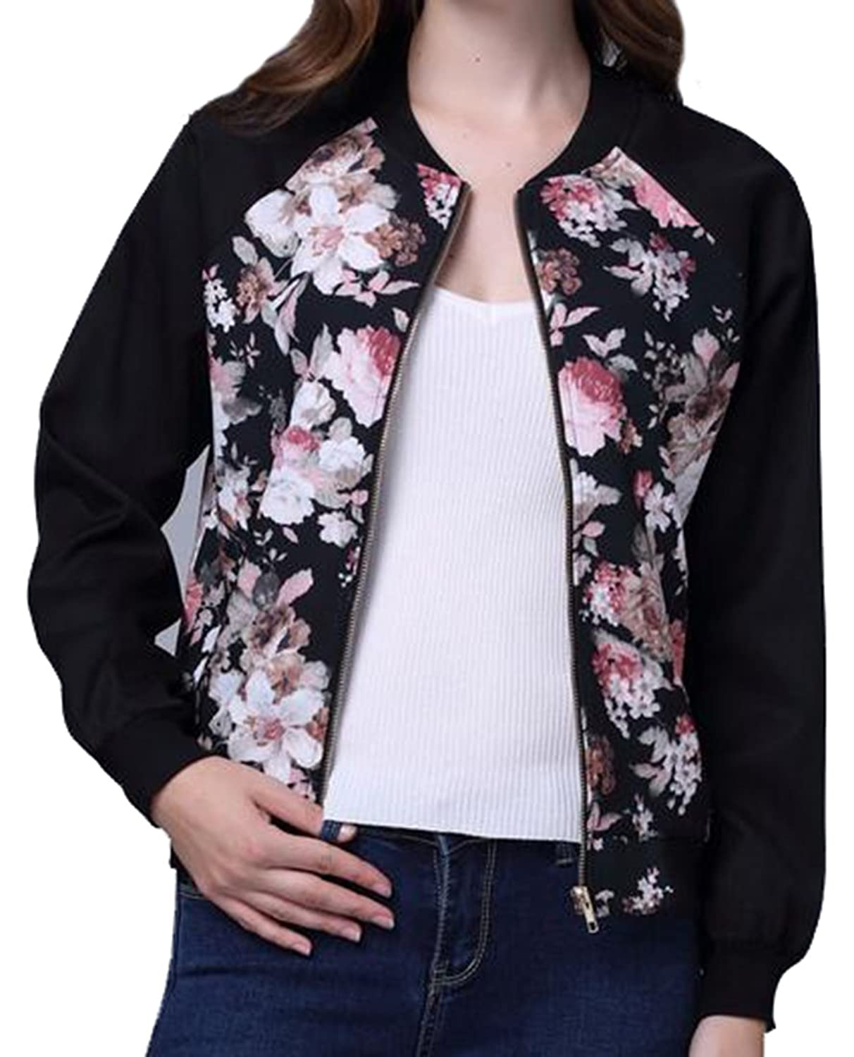 XTX Women's Casual Short Printed Outer Zip-front Jackets