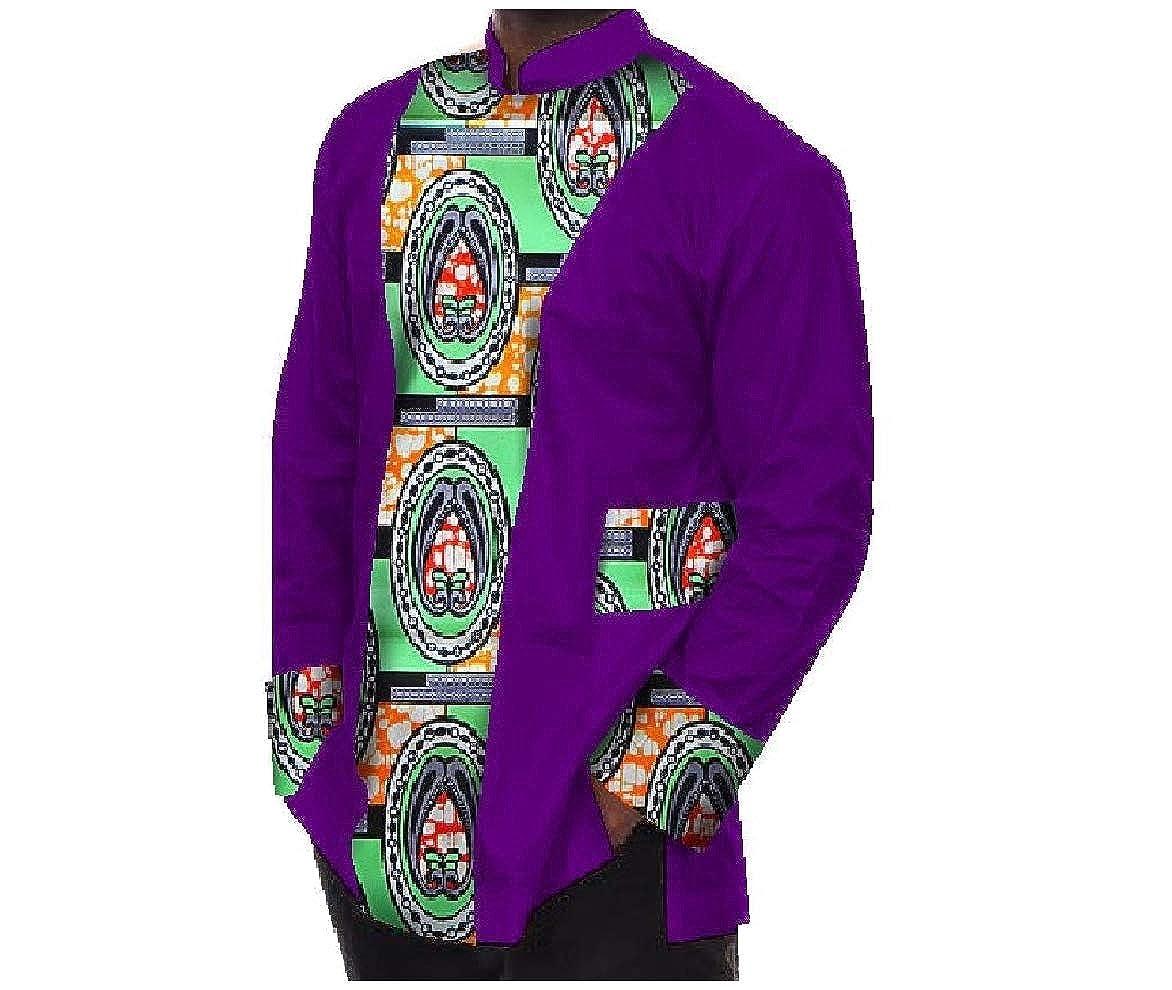 Abetteric Mens Stitching Long-Sleeved Dashiki Cotton T Shirt Tops