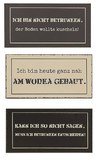 Amazon De 3er Set Metall Wandbilder 40 X 20 Schilder Lustige