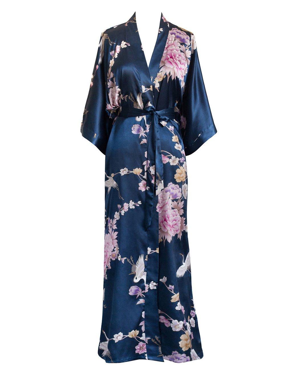 Old Shanghai Women's Kimono Long Robe - Chrysanthemum & Crane (Navy)