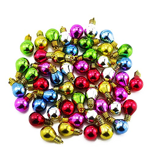 Etmact 100pcs Assorted Colors Mini Round Shape Plastic Light bulb Beads Christmas Decoration for DIY Craft