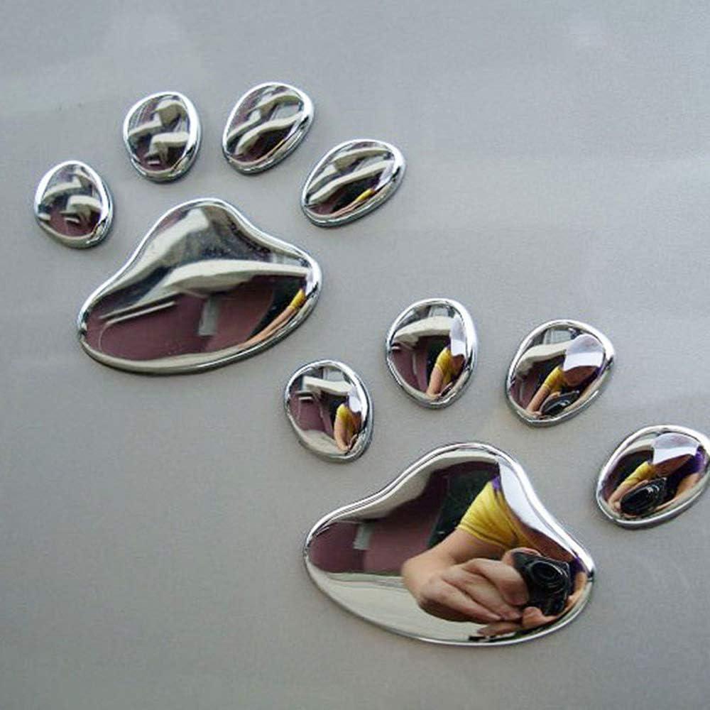 Argent Aofocy 1 Paire de Stickers de Voiture Autocollant de Voiture d/écoration Empreinte de Patte de Chien