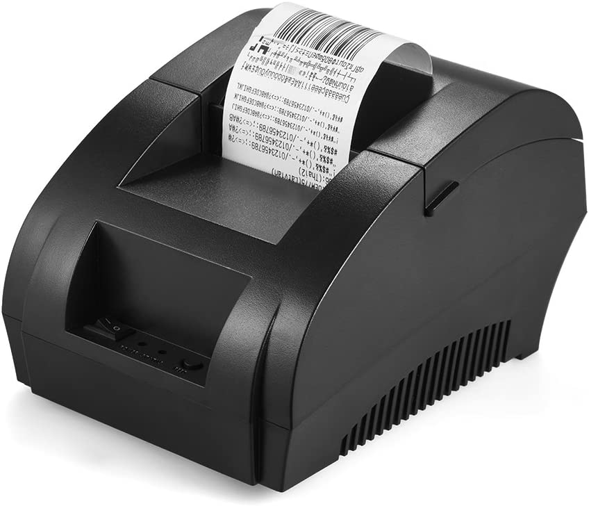 KKmoon - Impresora térmica de códigos de tiques en 58 mm de papel,POS-5890K 58mm Recibo de impresora USB Bill Ticket POS Cajón de efectivo Restaurante Impresión al por menor