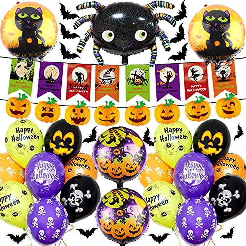 Halloween Party Supplies, Pumpkin banner Black Orange Confetti Balloons with Mylar Spider Balloon for Kids Halloween Theme Party Background Classroom Decorations