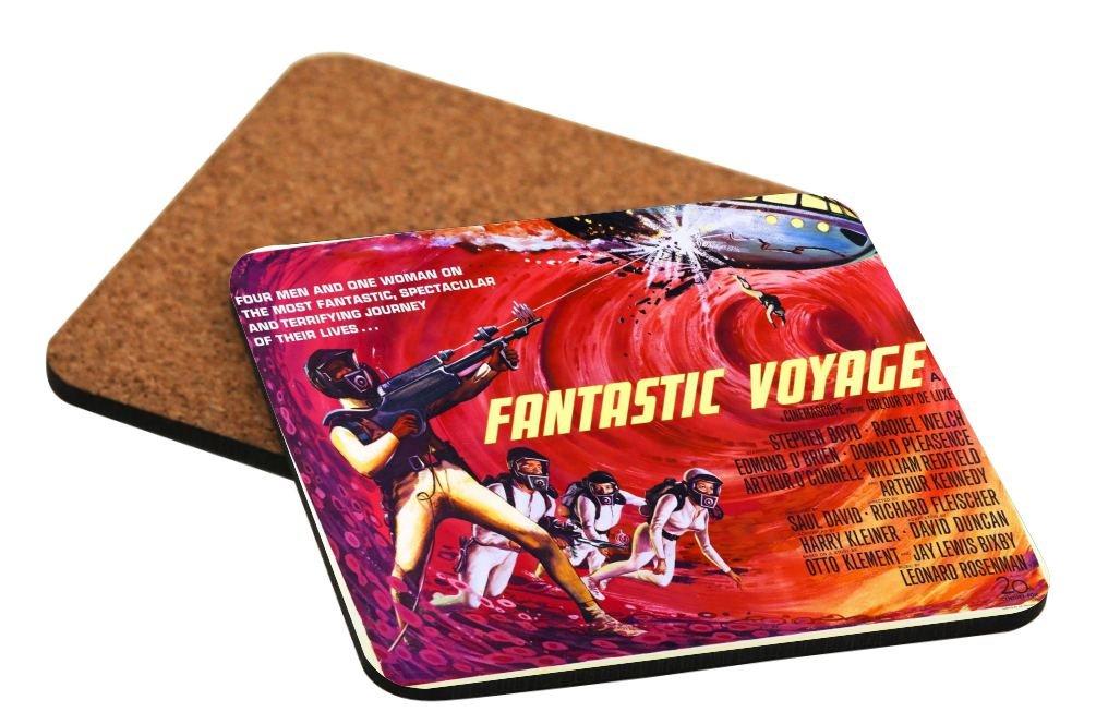 Rikki Knight Vintage Movie Posters Art Fantastic Voyage Design Square Beer Coasters