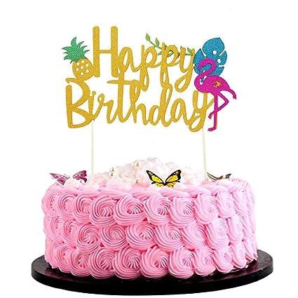 Astonishing Bsstr Flamingo Pineapple Cake Toppers Happy Birthday Cake Tropical Birthday Cards Printable Trancafe Filternl
