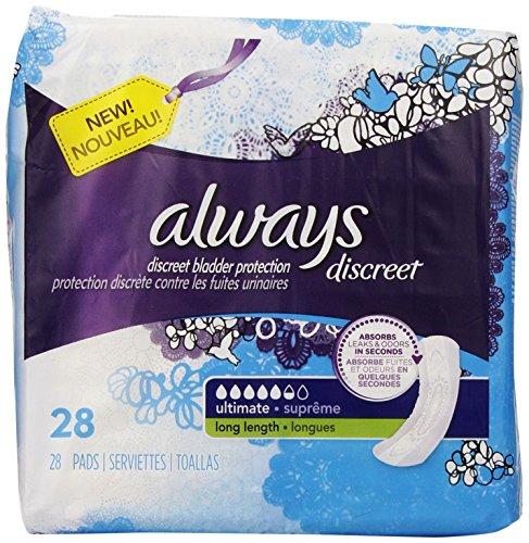 Always Discreet Incontinence Pads Ultimate, Long Length, 28 Count (Packaging May Vary) by Always Discreet