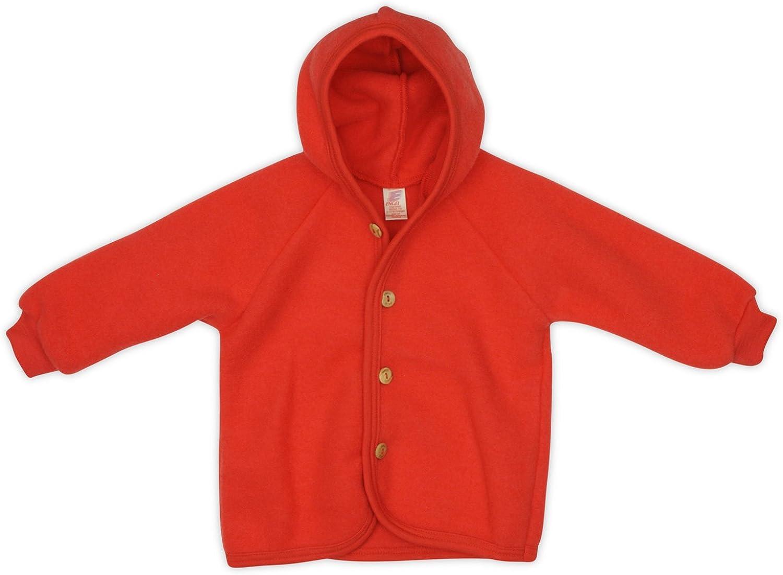 74//80 Engel Baby Jacke mit Kapuze Wollfleece rot Melange