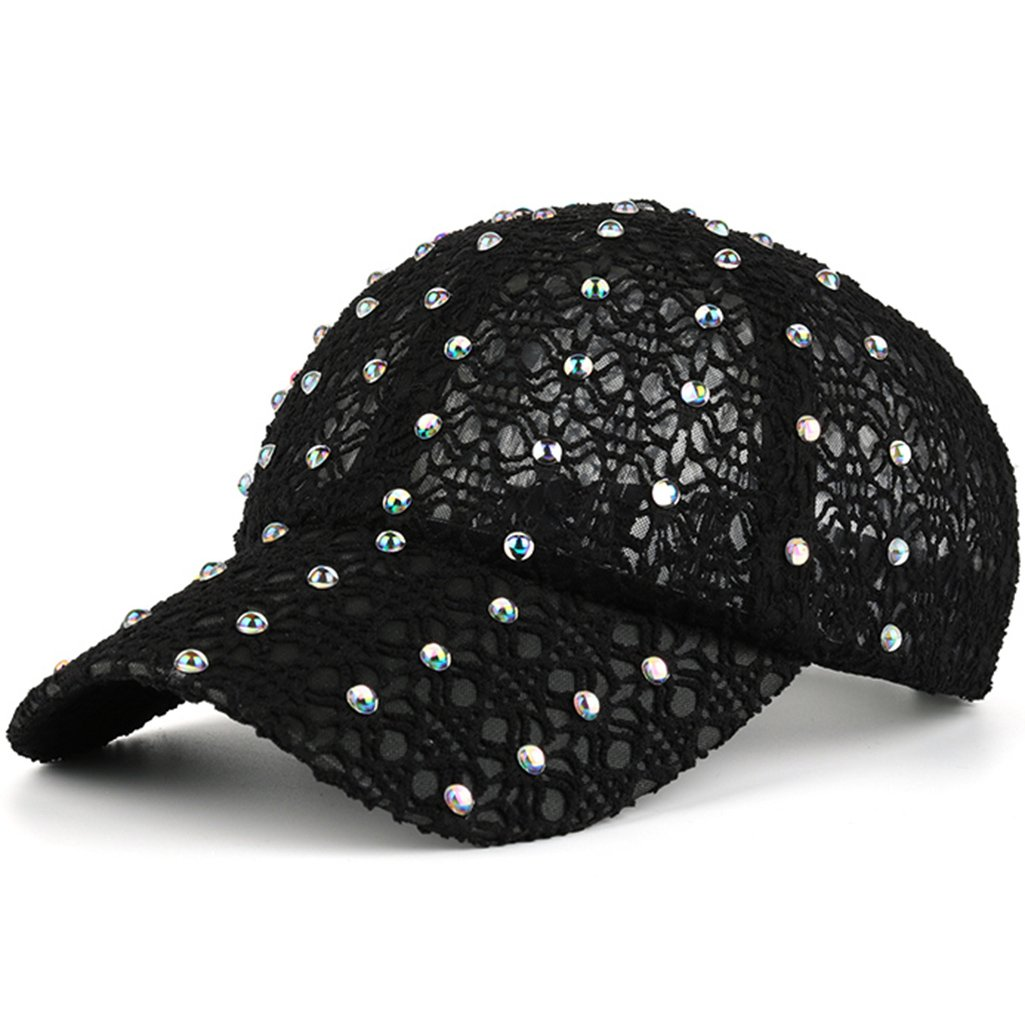 Lace Baseball Cap Adjustable Fashion Style With Rhinestone For Girl Women, Black