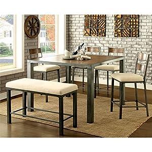 Furniture Of America Metrix 6 Piece Counter Height Dining Set In Oak