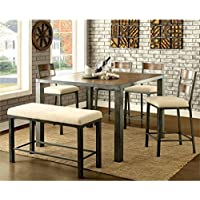 Furniture of America Metrix 6 Piece Counter Height Dining Set in Oak
