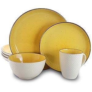 Elama EL-MELLOWYELLOW Mellow-Yellow 16-Piece Dinnerware Set, 16pc, Yello and white