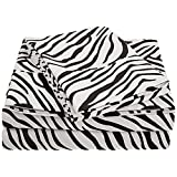 Impressions by Luxor Treasures 1800 Series Wrinkle Resistant Queen 4-Piece Sheet Set Animal Print, Black