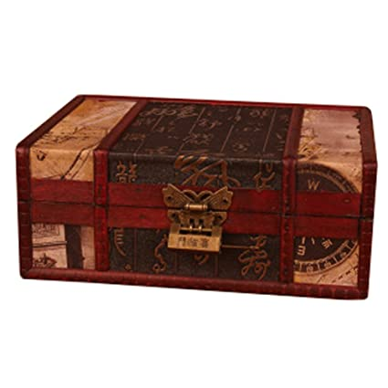 Chinese Style Wooden Box Treasure Chest Case Storage Accessory With Lock