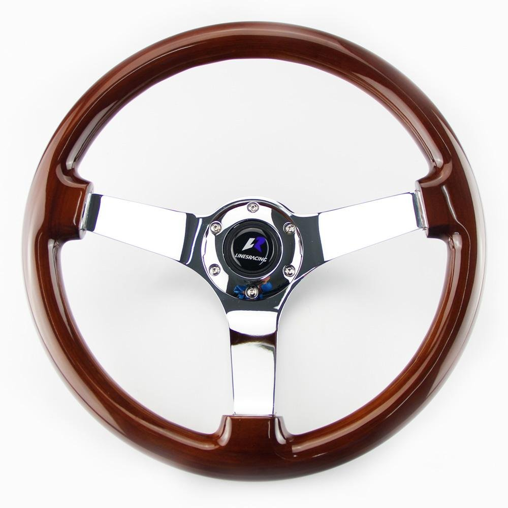 LR Universal 14'' steering wheel with horn, 6 bolts 3'' Dish, Mirrored Chrome Spoke (Wood) by LinesRacing