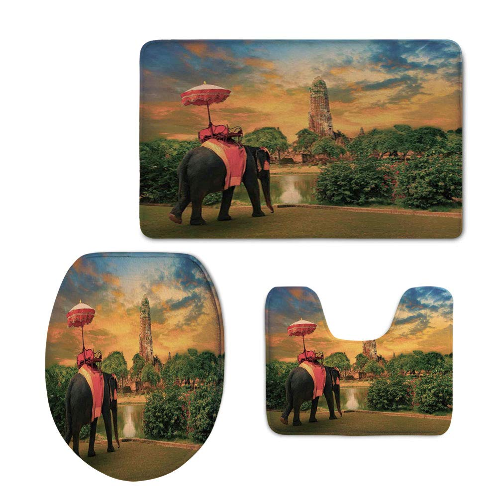 3 Piece Toilet mat Set,Elephant,Elephant Dressing Thai Kingdom Tradition Accessories Pagoda in Ayuthaya Decorative,Green Marigold,Printed