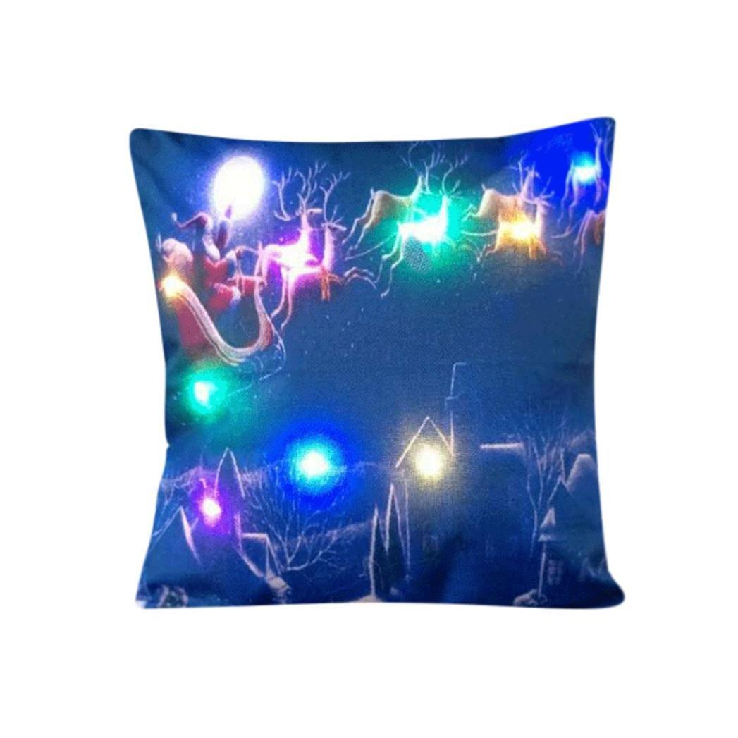 Type F Christmas Stylish Amusing LED Cushion,Y56 Christmas Lighting LED Cushion Cover Home Decor Throw Pillowcase Sofa Flashing