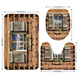 3 Piece Bathroom Mat Set,Shutters,Weathered Facade of A Mountain Hut with Summer Mountain Reflections on Window,Brown Green,Bath Mat,Bathroom Carpet Rug,Non-Slip