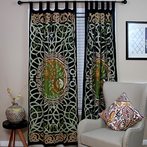 Celtic Curtain Yin Yang Tab Top Cotton Door Panel Copper & Green