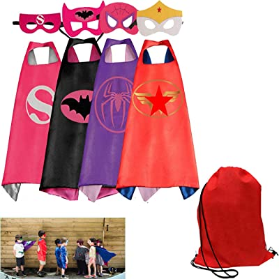 Tangtanggo 4 Different Superheros Capes and Masks Costume Set Includ Red Bag for Kids: Toys & Games