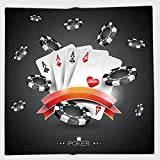 Cotton Microfiber Hand Towel,Poker Tournament Decorations,Artistic Display Spread Chips with Poker Cards Lifestyle Decorative,Black White Red,for Kids, Teens, and Adults,One Side Printing