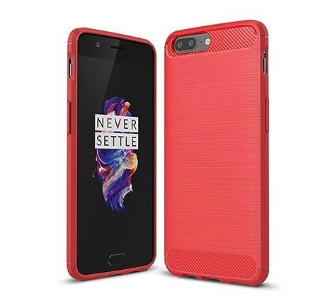 OnePlus 5 Funda, TopACE® Carcasa Protectora Back Soft Cover (Rojo)