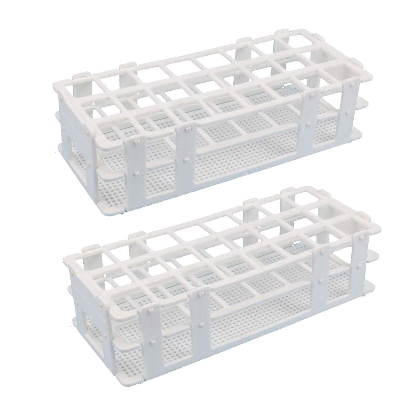 Luckkyme Plastic Test Tube Rack 2 Pack 24 Holes Lab Test Tube Rack Holder for 25mm and Below The Test Tubes, Detachable, White 2Pack by Luckkyme