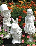 Garden Decor Statues Inspired By Lewis Carroll's Beloved Classic Alice In Wonderland Statuary Set, White Finish