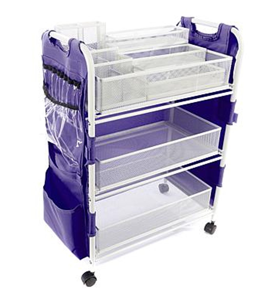 Totally-Tiffany Craft Cart with Attached 19-Pocket ~ (Purple) Apron